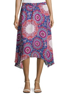 Laundry by Shelli Segal Asymmetric Floral-Medallion Skirt