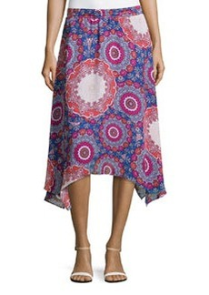 Laundry by Shelli Segal Asymmetric Floral-Medallion Skirt, Palace Blue/Multicolor