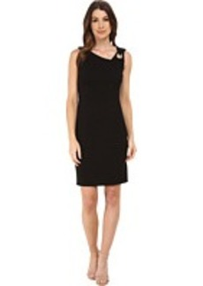 Laundry by Shelli Segal Asymmetric Neck Dress w/ Metal Trim