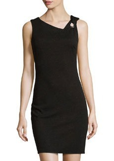 Laundry by Shelli Segal Asymmetric-Neck Shimmery Sleeveless Dress, Black