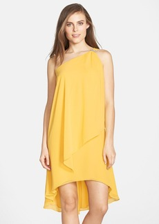 Laundry by Shelli Segal Asymmetrical Layered Chiffon One-Shoulder Dress