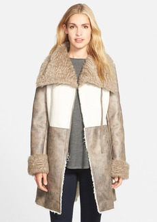 Laundry by Shelli Segal Asymmetrical Zip Two Tone Faux Shearling Coat