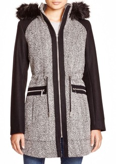 Laundry by Shelli Segal Audrey Herringbone Zip Coat with Faux Fur