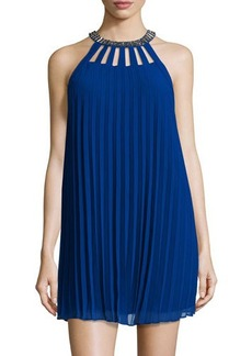 Laundry by Shelli Segal Beaded-Halter Pleated Sleeveless Dress