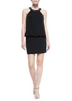 Laundry by Shelli Segal Beaded-Neck Halter Blouson Cocktail Dress, Black