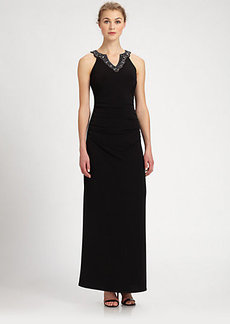 Laundry by Shelli Segal Beaded-Neck Matte Jersey Gown