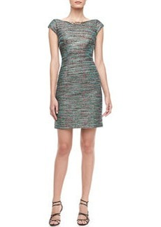 Laundry by Shelli Segal Beaded-Neck Tweed Dress