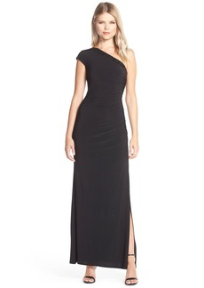 Laundry by Shelli Segal Beaded One-Shoulder Jersey Gown