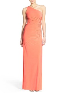 Laundry by Shelli Segal Beaded Panel One-Shoulder Jersey Gown (Regular & Petite)