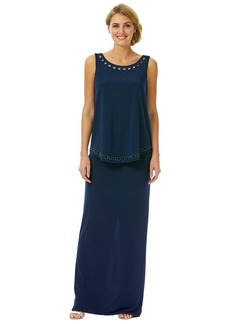 Laundry by Shelli Segal Beaded Popover Jersey Gown