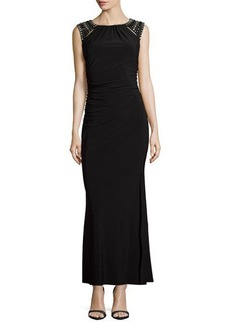 Laundry by Shelli Segal Beaded-Shoulder Gown with Back Clover Cutout