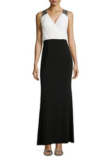 Laundry by Shelli Segal Beaded Shoulder Two-Tone Gown, Black Multi