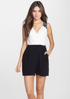 Laundry by Shelli Segal Beaded Strap Colorblock Crepe Romper