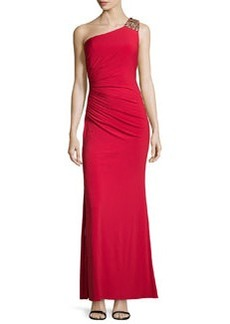 Laundry by Shelli Segal Bejeweled One-Shoulder Open-Back Gown, Parisian Red