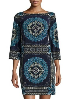 Laundry by Shelli Segal Bell-Sleeve Printed Jersey Dress