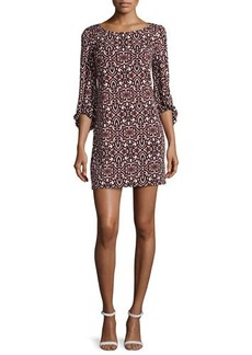 Laundry by Shelli Segal Bell-Sleeve Printed Shift Dress, Berry Multi