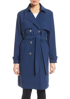 Laundry by Shelli Segal Belted Crepe Long Trench Coat