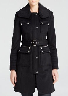 Laundry by Shelli Segal Belted Military Wool Coat