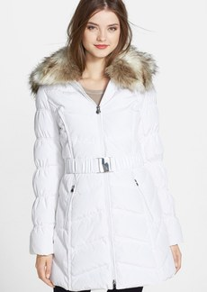 Laundry by Shelli Segal Belted Puffer Coat with Faux Fur Trim