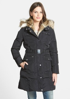 Laundry by Shelli Segal Belted Quilted Parka with Faux Fur Trim