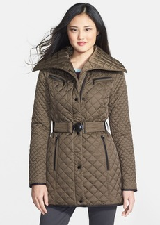 Laundry by Shelli Segal Belted Quilted Walking Coat