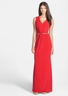 Laundry by Shelli Segal Belted Twist Front Jersey Gown
