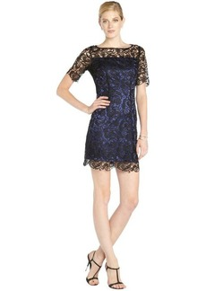 Laundry by Shelli Segal black and blue lace overlay elbow sleeve cocktail dress