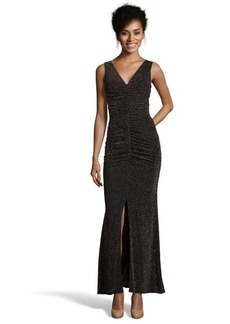 Laundry by Shelli Segal black and gold metallic stretch shirred gown