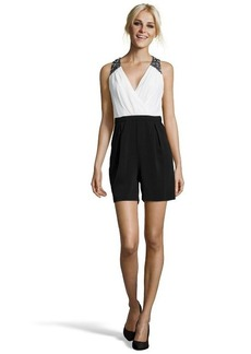 Laundry by Shelli Segal black and white chiffon embellished romper