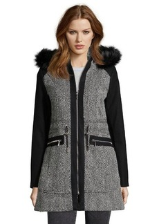 Laundry by Shelli Segal black and white herringbone wool faux fur trimmed 3/4 length coat