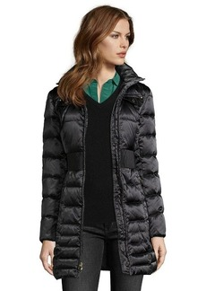 Laundry by Shelli Segal black box quilted optional faux fur hooded zip front down jacket