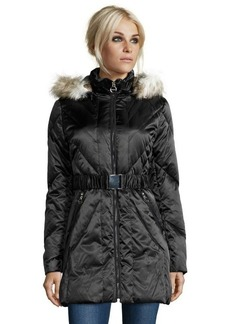 Laundry by Shelli Segal black chevron quilted faux fur hooded down jacket