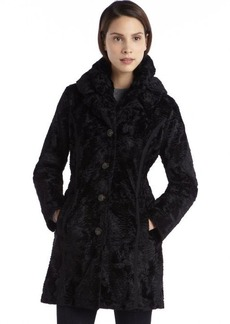 Laundry by Shelli Segal black faux fur and quilted woven reversible jacket