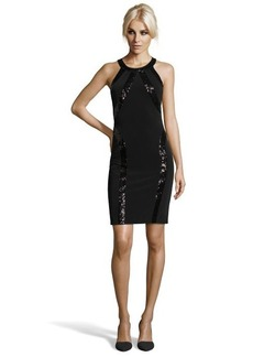 Laundry by Shelli Segal black jersey racer back sequin trim dress