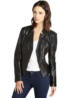 Laundry by Shelli Segal black leather asymmetrical jacket