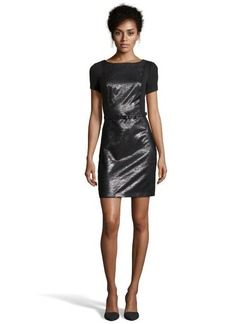 Laundry by Shelli Segal black ponte belted short sleeve dress