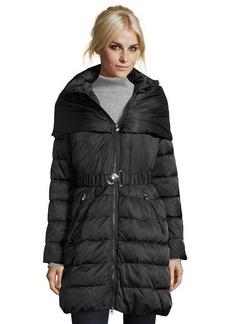 Laundry by Shelli Segal black quilted 3/4 convertible hood belted down jacket