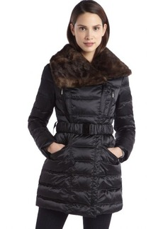 Laundry by Shelli Segal black quilted down asymmetrical belted faux fur coat