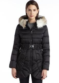 Laundry by Shelli Segal black quilted down filled ip up belted faux fur coat