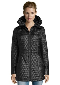 Laundry by Shelli Segal black quilted drawstring waist hooded anorak