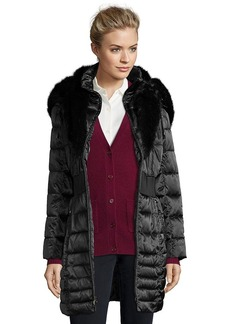 Laundry by Shelli Segal black quilted faux fur trim hood...