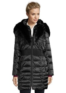 Laundry by Shelli Segal black quilted faux fur trim hooded down jacket