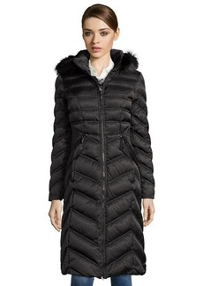 Laundry by Shelli Segal black quilted faux fur trim hooded down maxi coat