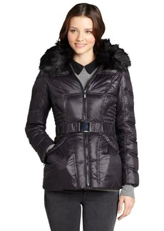 Laundry by Shelli Segal black quilted 'Marshmallow' hooded belted down jacket