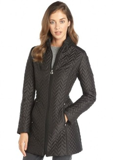Laundry by Shelli Segal black quilted nylon zip front 3/4 length coat