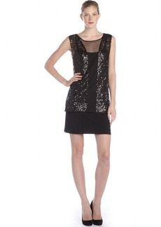 Laundry by Shelli Segal black sequined and mesh sleeveless party dress