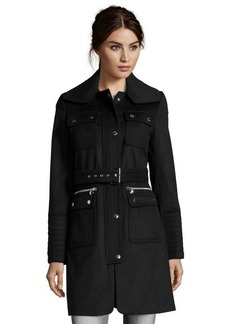 Laundry by Shelli Segal black wool blend 3/4 length belted military coat