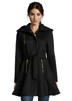 Laundry by Shelli Segal black wool blend hooded shawl collar 3/4 length belted coat