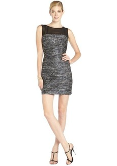 Laundry by Shelli Segal blue metallic boucle and chiffon sleeveless dress