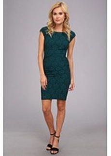 Laundry by Shelli Segal Boat Neck Shirred Lace Dress